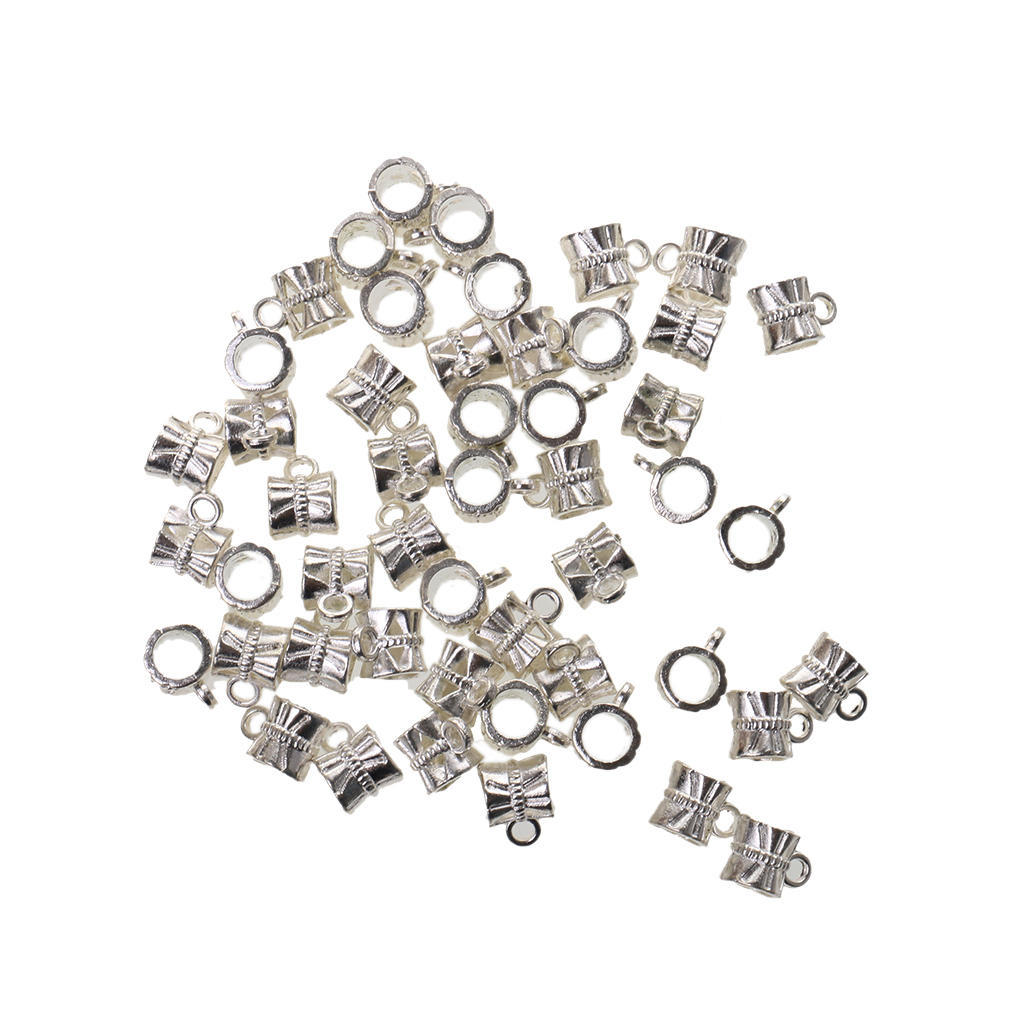 MagiDeal Pack of 50 Silver Spacer Bail Beads Tube Charms Pendants Jewelry Making Findings