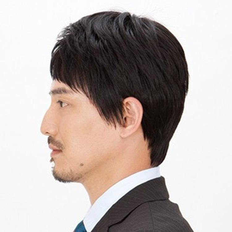 Mens real hair wigs real hair short hair handsome middle-aged father of Commerce realistic real hair wig breathable men