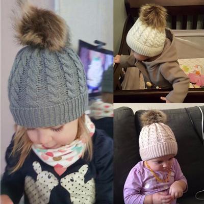 Baby Beanie Hat Toddler Kid Pom Pom Knit Skullies Ski Cap Winter Warm  Crochet Cap Knitted 7992c5f0c720