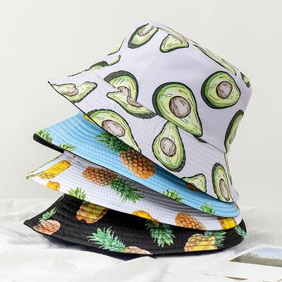New Fashion Unisex Bucket Hats Summer Double-sided Wear Fruit Flowers & Vegetables Printing Women Cap Outdoor Sun Hat Men Classic Panama Bucket Hat