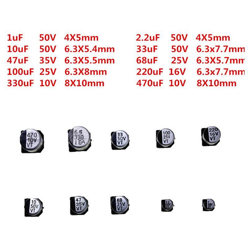 25pcs SMD Aluminium Electrolytic Capacitor 25V 330uF 8x10mm