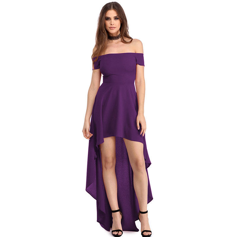 Mujeres Sexy partido de hombro vestido de Cóctel de moda de la falda ...