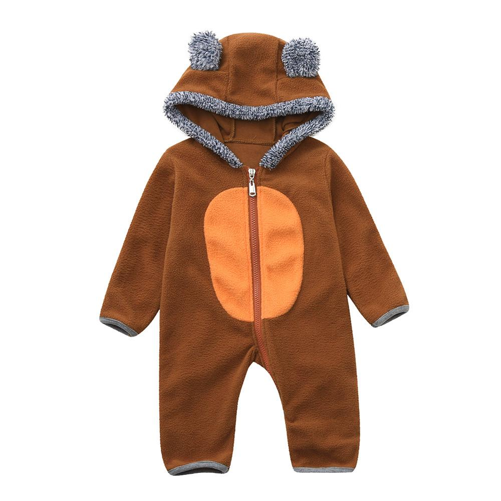 Infant Newborn Baby Girls Boys Cartoon Ears Hoodie Romper Zip Clothes Jumpsuit