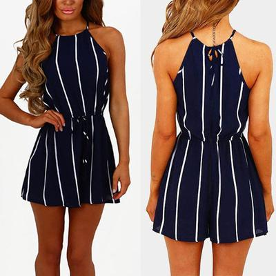 38bf542aa99 Women Sleeveless Strappy Striped Jumpsuit Summer Party Romper Playsuit  Casual Shorts