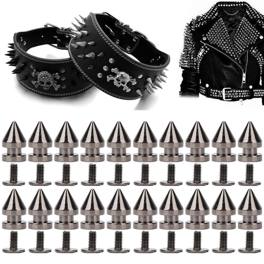 20Pcs 8*13.5mm Metal Rivet Bullet Spikes Leathercraft Studs DIY Clothes Decor