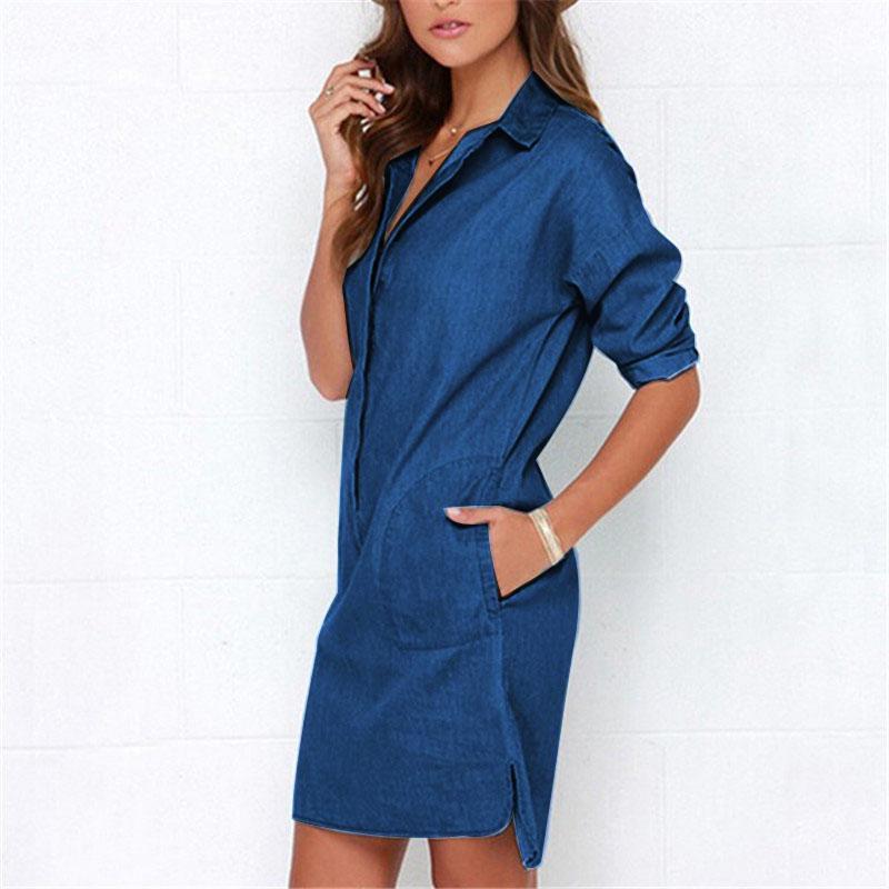 2018跨境专供ebay速卖通热销爆款欧美时尚牛仔宽松衬衫裙