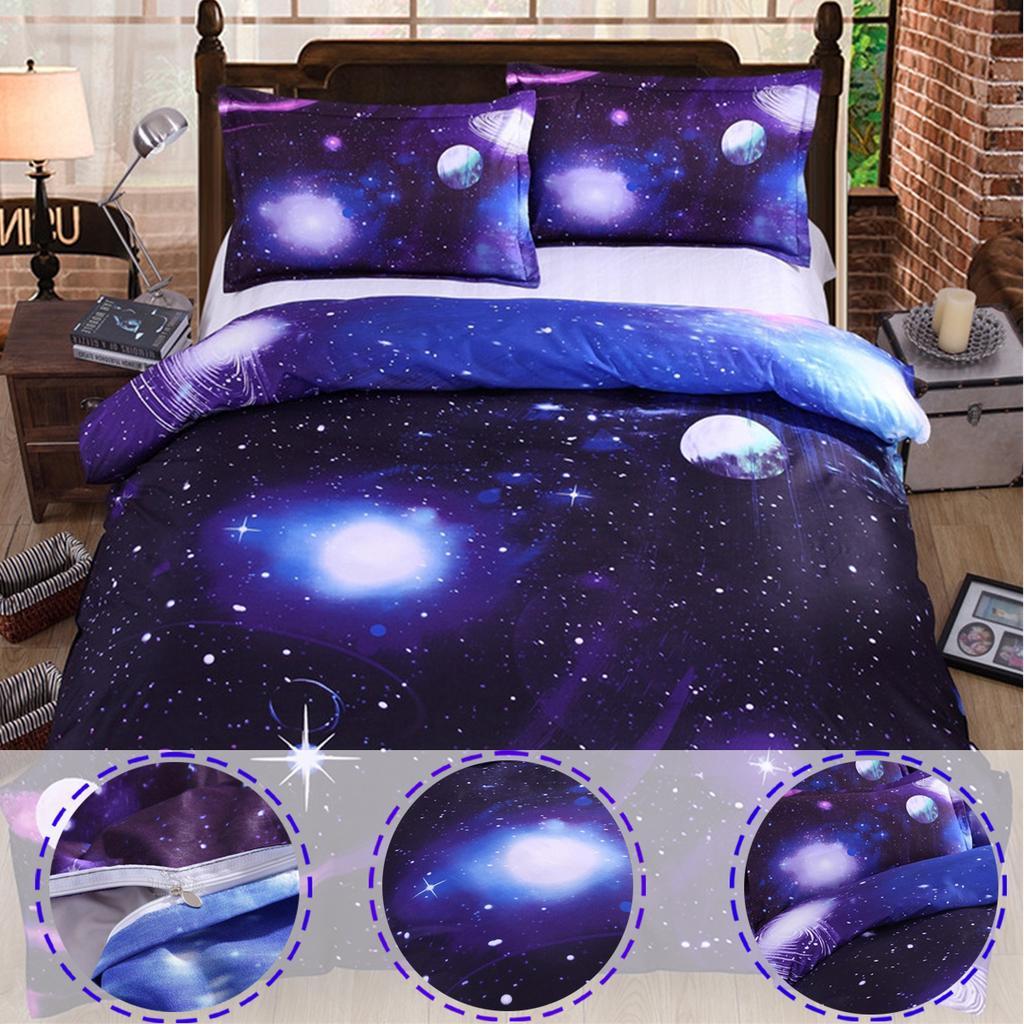 Duvet Cover Sets 3D Stars Sky Print Bedding Pillowcases Sheet Queen Single Size