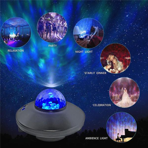 LED Galaxy Projector Starry Night Light Laser Star Sky Ocean Projection Lamp USB