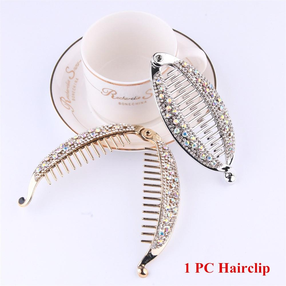Мода женщин вертикальный хвост шпилька Банановый клип головные уборы Кристалл волосы клип Bun Maker Hairgrip фото