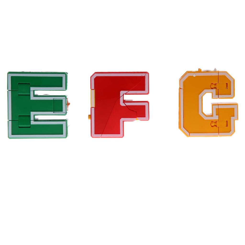 E F G English Letters Armour Transforming Robot Toy for Kids Play Display