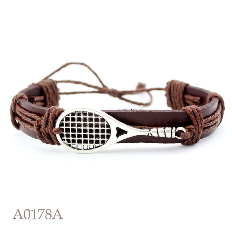 3d858afff29c Bádminton Pulsera plata encanto pulsera de genuino cuero (color  marrón)