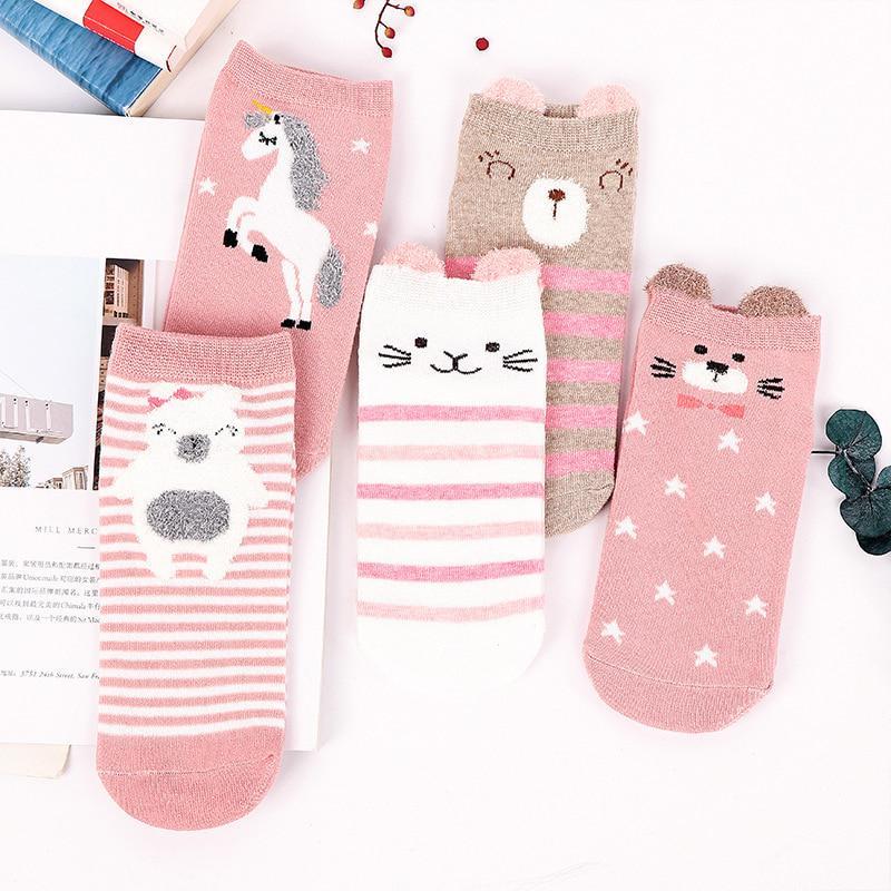 10 Pairs Baby Boy Girl Socks Warm Anti Slip Toddler Kid 0-5 Years Random Colour