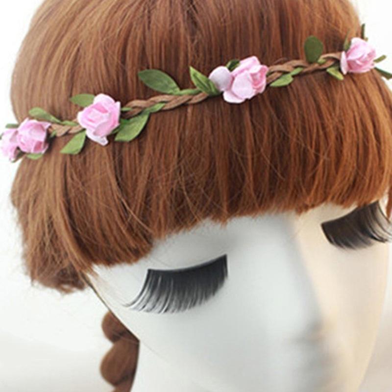Cream Light Yellow Purple Carnation Flower Garland Headband Hair Crown Boho 2167