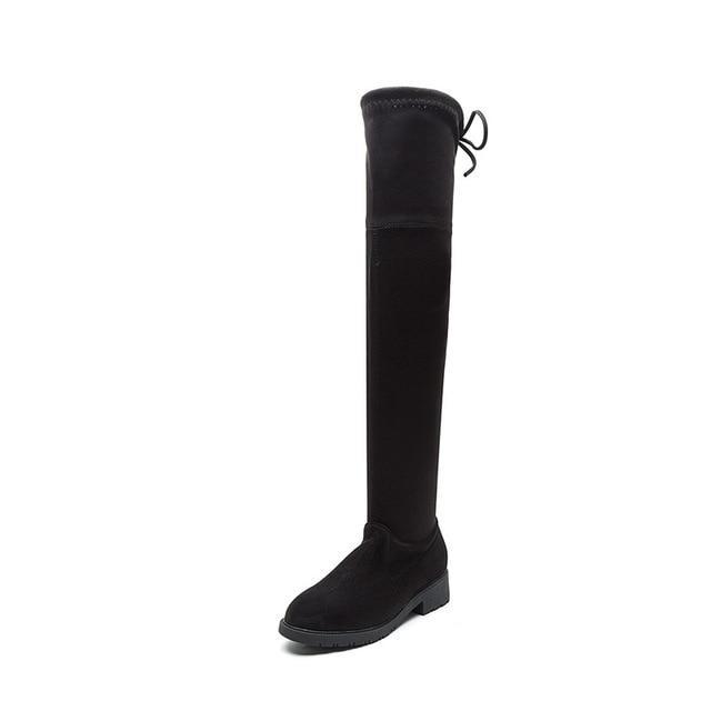 0b18194c0a40d Otoño e invierno piernas delgadas fondo plano marea alta tubo además botas  de terciopelo elástico mujer - comprar a precios bajos en la tienda en  línea Joom