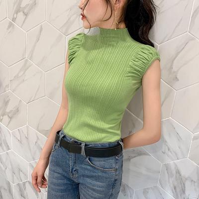 Women's Solid Half Turtleneck  Casual Knitted Sleeveless T-Shirt