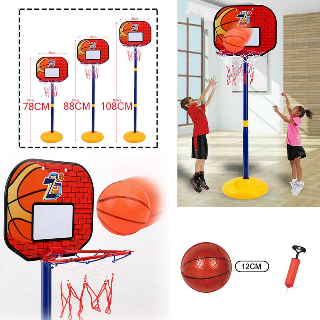 Kids Adjustable Basketball Set Back Board Stand Net Toy Indoor Outdoor Game 1.7M