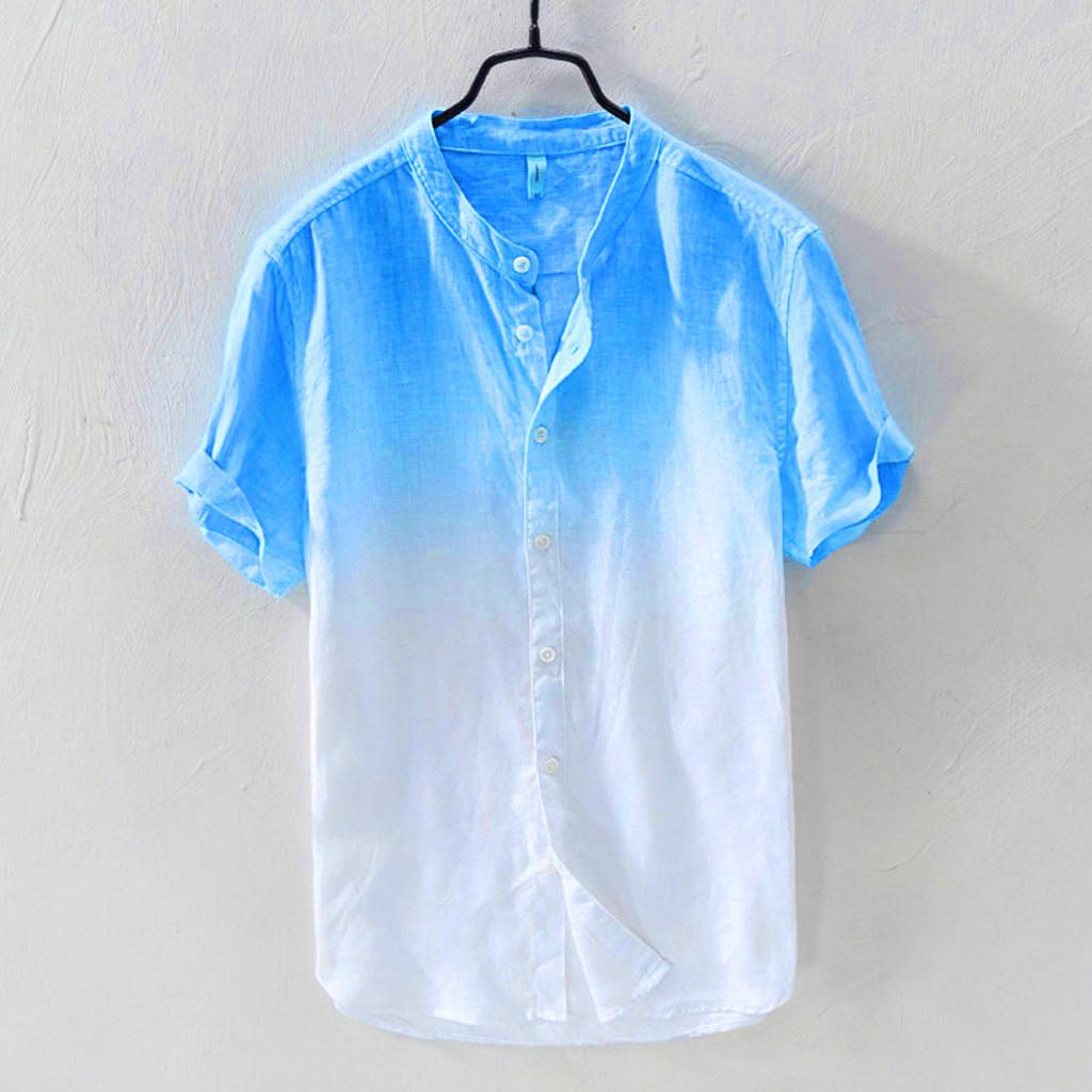Summer Mens Cool Thin Breathable Lapel Collar Hanging Dyed Gradient Cotton Shirt
