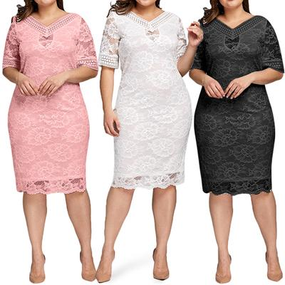 Mirror Womens Plus-Size V Neck Hollow Lace Washed Evening Party Dress