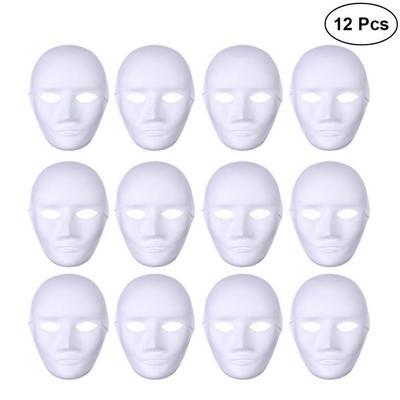 12pcs Kadın Tam Yüz Cadılar Bayramı Kostümleri Boş Boyama Maskesi