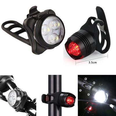 2pcs Bicycle USB Round Headlight Tail Light Red+White LED Bike Front Rear Lamp