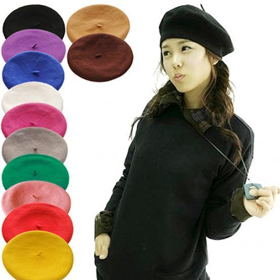 13dc6041e52 Women Girl Solid Color Warm Winter Beret French Artist Beanie Hat Ski Cap-buy  at a low prices on Joom e-commerce platform
