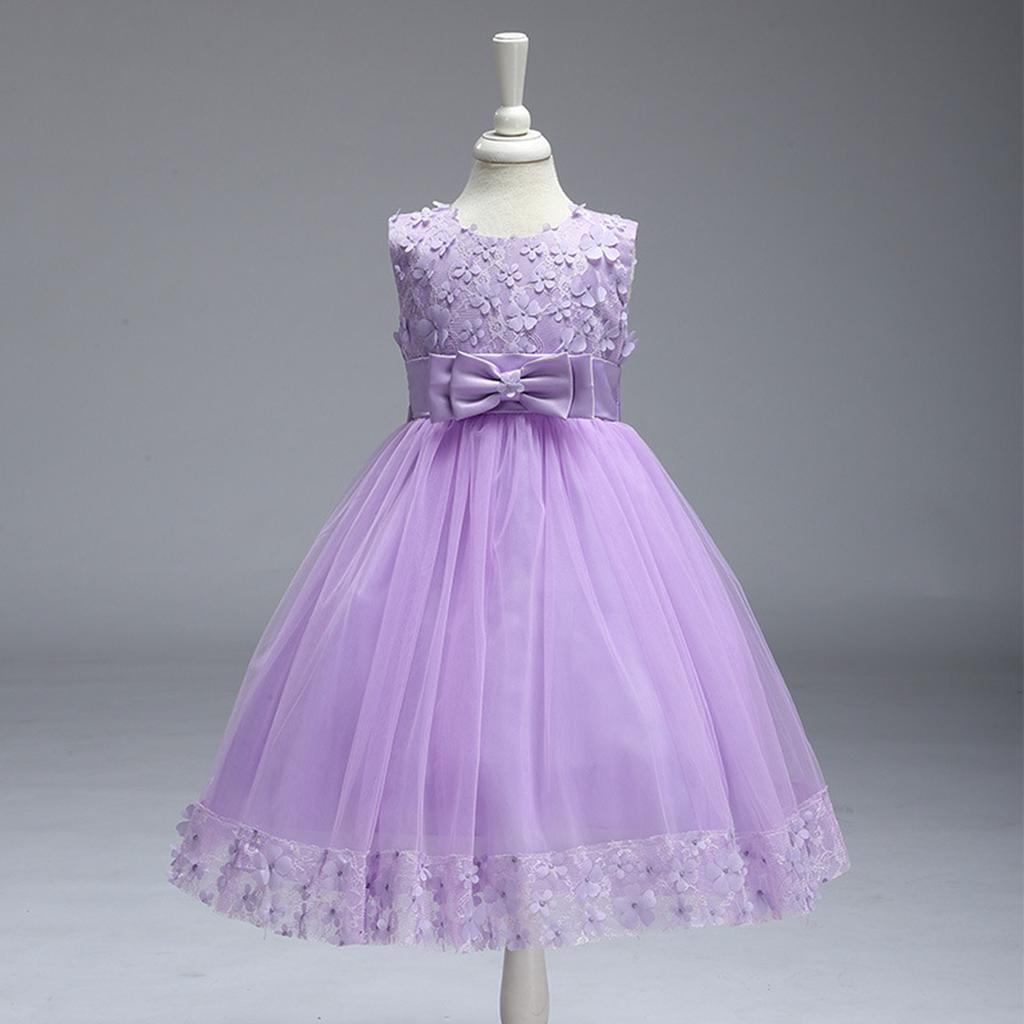 Chica bordada desfile flor Bowknot vestido Tutu Vestido de Dama de ...