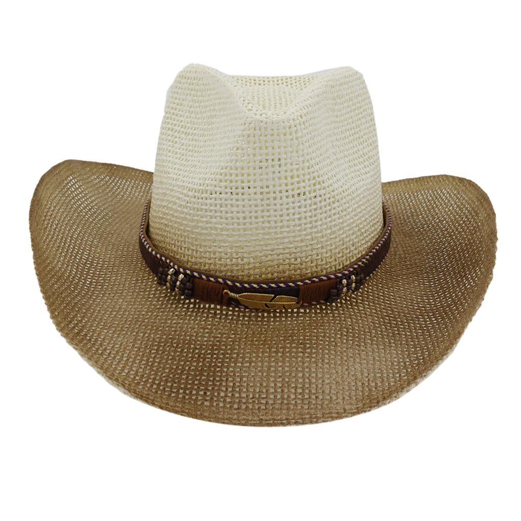 Men And Women Retro Western Cowboy Riding Hat Leather Belt Wide Brim Cap Hat P
