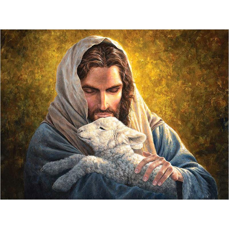 DIY Paint by Numbers Kit Acrylic Oil Painting Home Decor Jesus Christ  with lamb