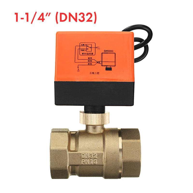 DN20-3//4 inch 1//2 3//4 1 1-1//4 1-1//2 2 inch DC12v ~ 24v NC 2 Port motorised Valve Normally Closed Motorized Ball Valve 1 Piece