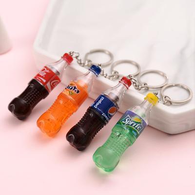 Fashion Drink Bottle Handmade Resin Charms Keychain Car Trinket Gift Souvenirs