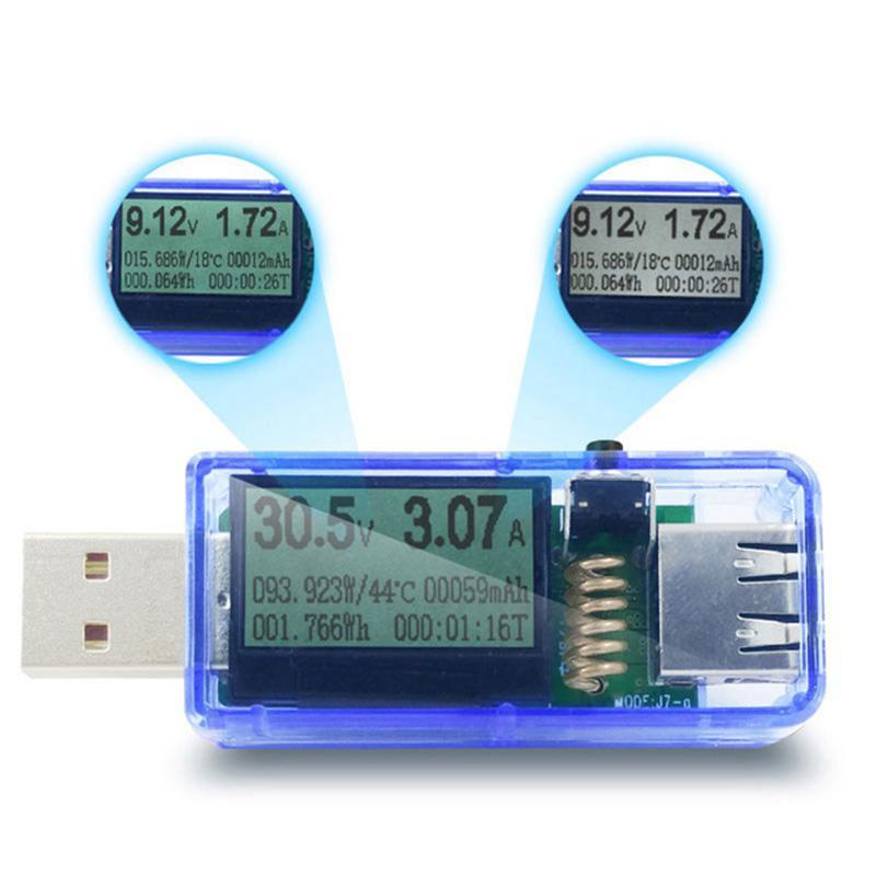 SODIAL 12 in 1 USB Tester Dc Digital Voltmeter Voltage Current Meter Ammeter Detector Power Bank Charger Indicator Transparent Shell White Backlight