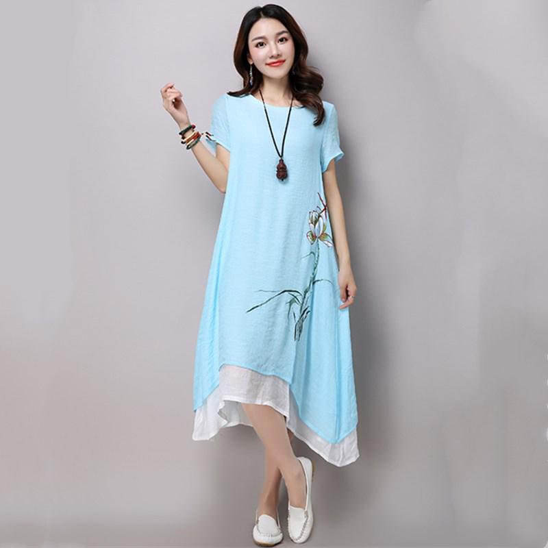 Свободное летнее платье с цветочным узором, размера Plus Size, материал: хлопок, лён