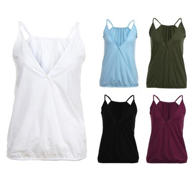 [tree1] Plus Size Women Loose Summer Casual Flowy Sleeveless V-Neck Tank Tops