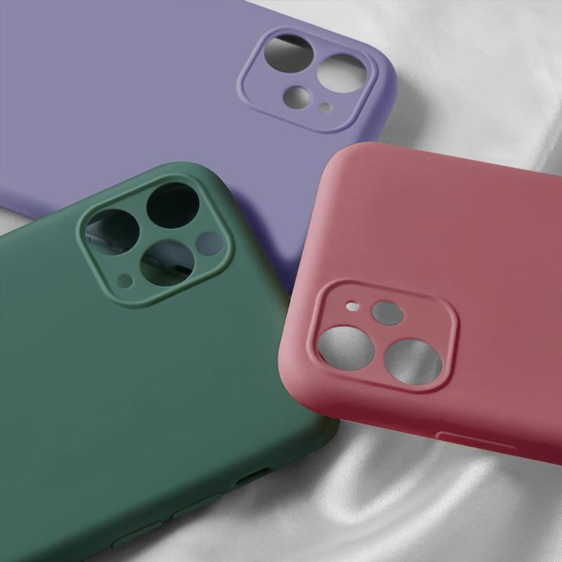 Luxury Liquid Silicone Case Camera Lens Protect Full Cover Cases For Iphone 12 Pro MAX 12 Mini 11 Pro X XR XS MAX 8 7 6