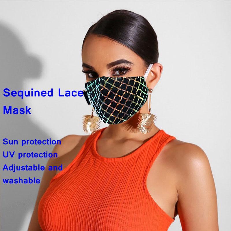 1PCS блестки кружева маска Мода Защита от солнца и УФ-защита регулируемая и мохаемая – купить по низким ценам в интернет-магазине Joom