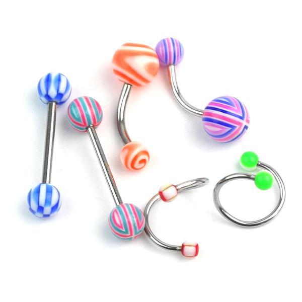 16Pcs Mixed Set Labret Lip Belly Bars Navel Button Bar Body Piercing Jewellery