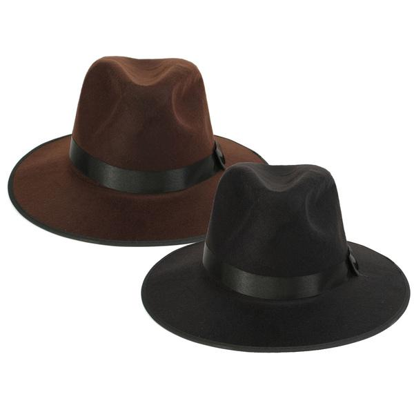 Moda Vintage Unisex cappello tesa larga lana feltro cappello ... 66283fc29861