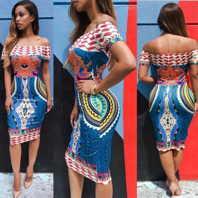 Fashion Women/'s Traditional African Print Dashiki Dress Short Sleeve Party Dress
