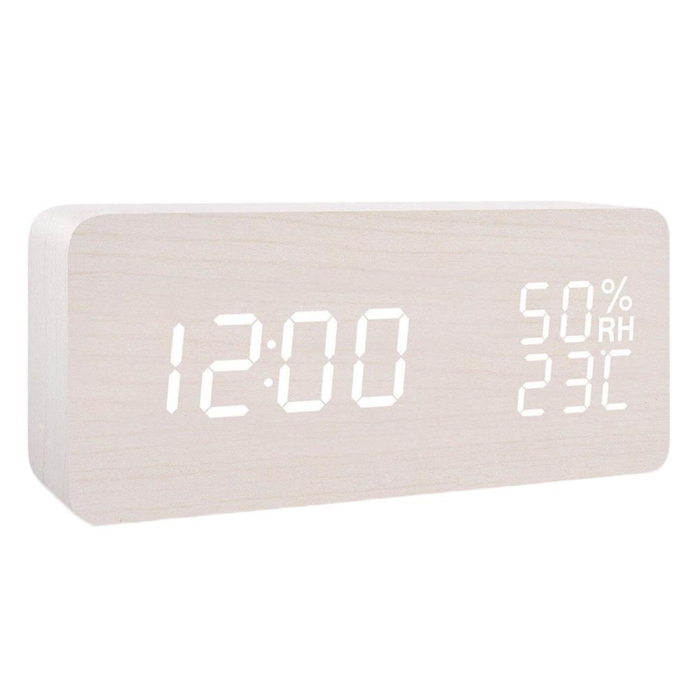 Wooden LED Digital Alarm Clock Voice Control Desk Table Calendar Thermometer USB