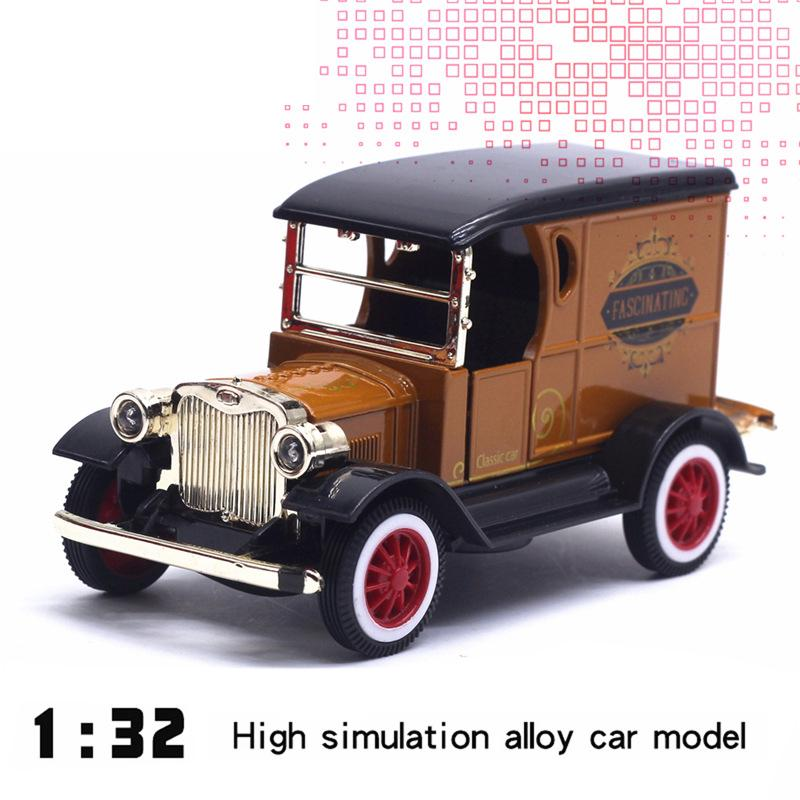 1:32 Scale Retro Car Model Pull-back Vehicle with Light Vintage Kids Toys Gift