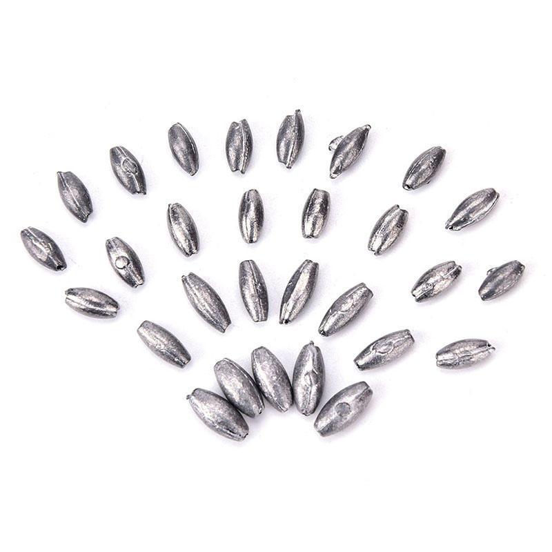 100pcs olive shape lead sinkers pure lead making fishing sinker HI