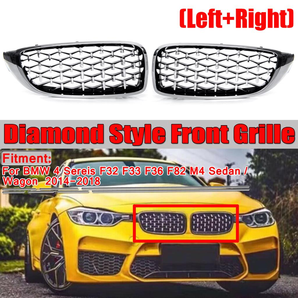 New Pair Gloss Black Front Kidney Grilles for BMW E90 E91 Saloon 4D 2005-2008