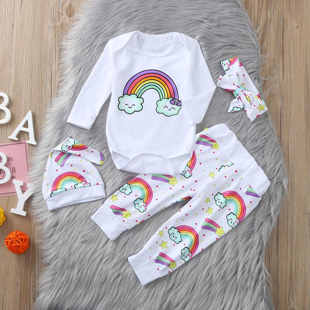 Newborn Baby Boys Girls Heart Print Romper Bodysuit Jumpsuit Outfits Clothes Set