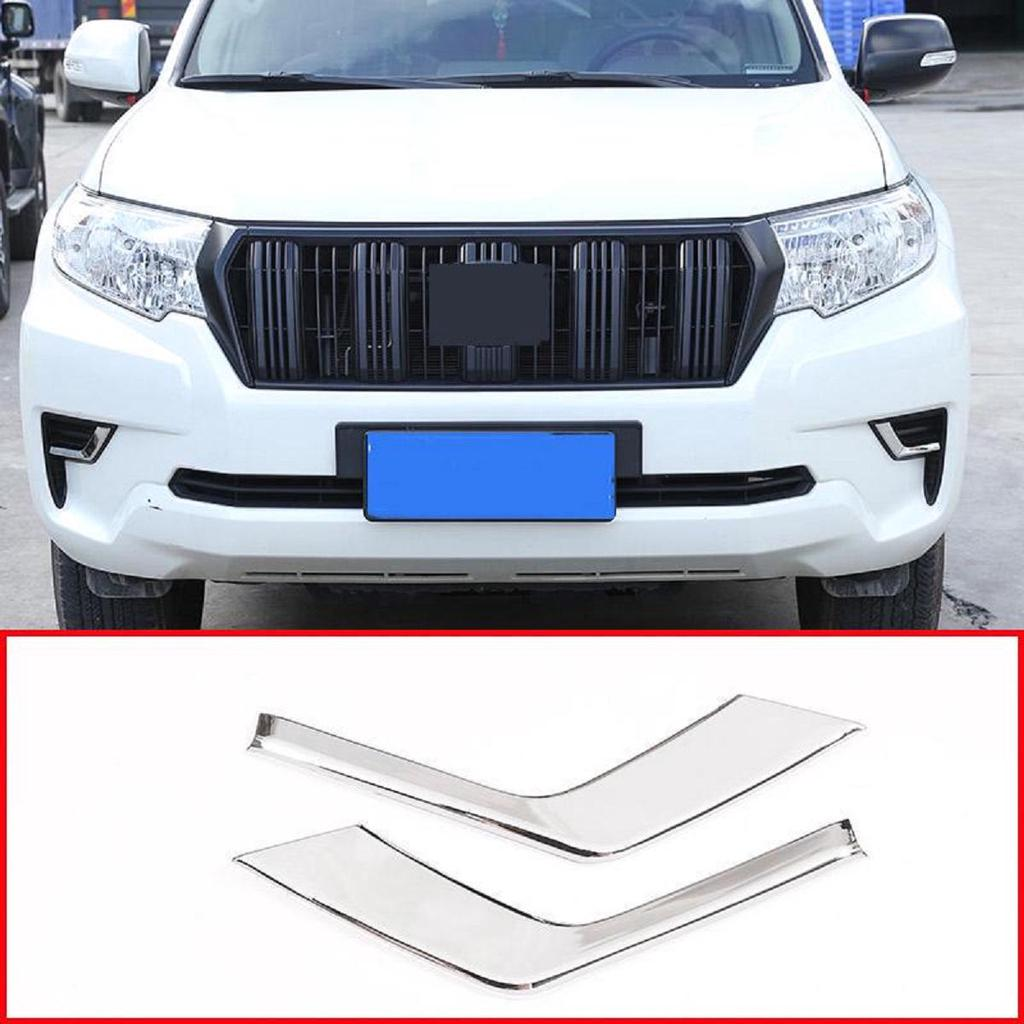 Apply to ABS Chrome Car Front Fog Lamp Strips Trim Auto Accessories Land Cruiser Prado FJ150 150 2018 2019 (Without Lamp Style)