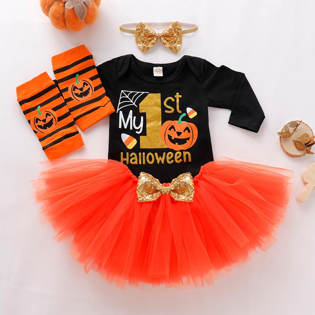 Baby Girl My First Halloween Clothes Set Romper+Shorts Bow 4PC Newborn Halloween Outfits