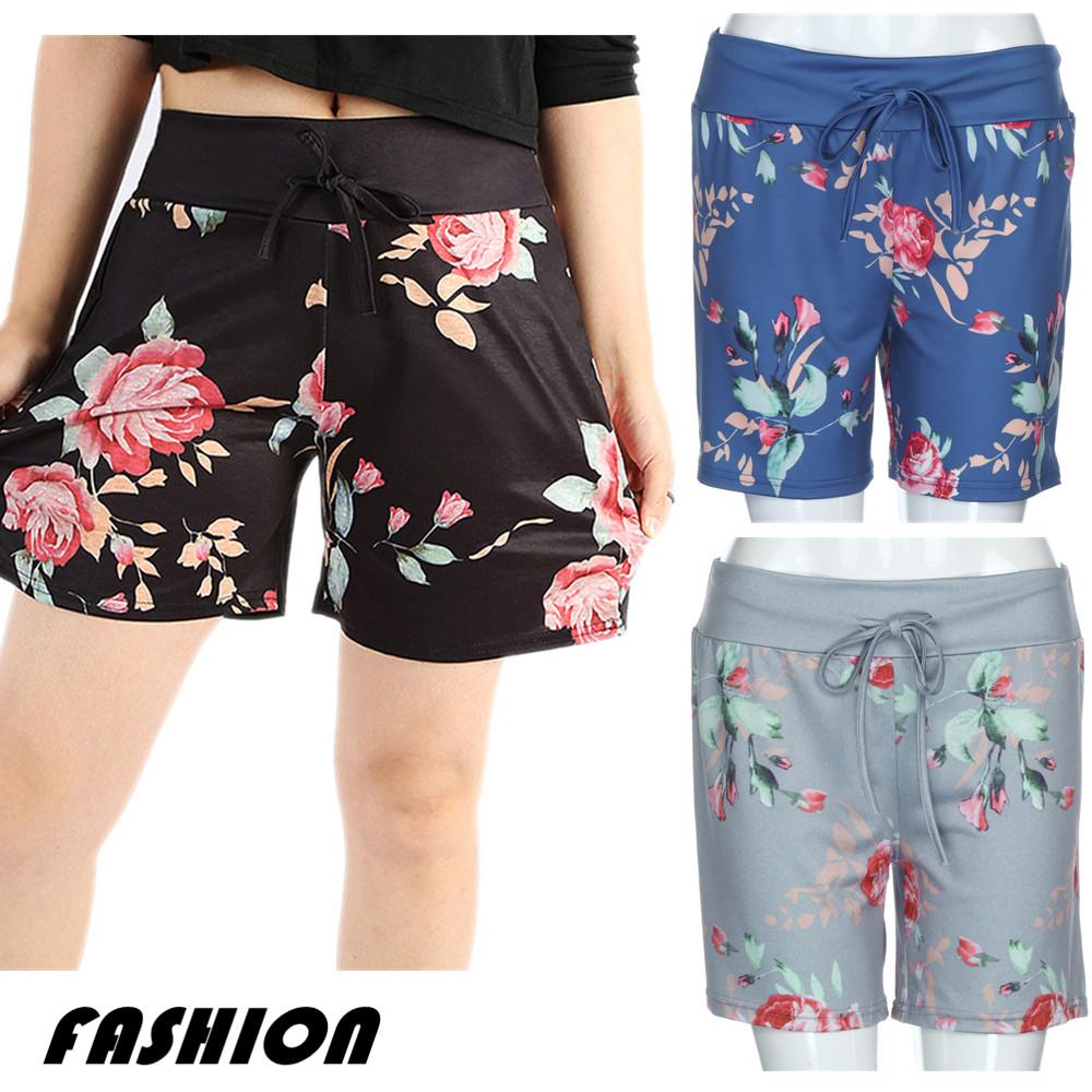 Women Summer Casual Floral Prints Drawstring Shorts Pants