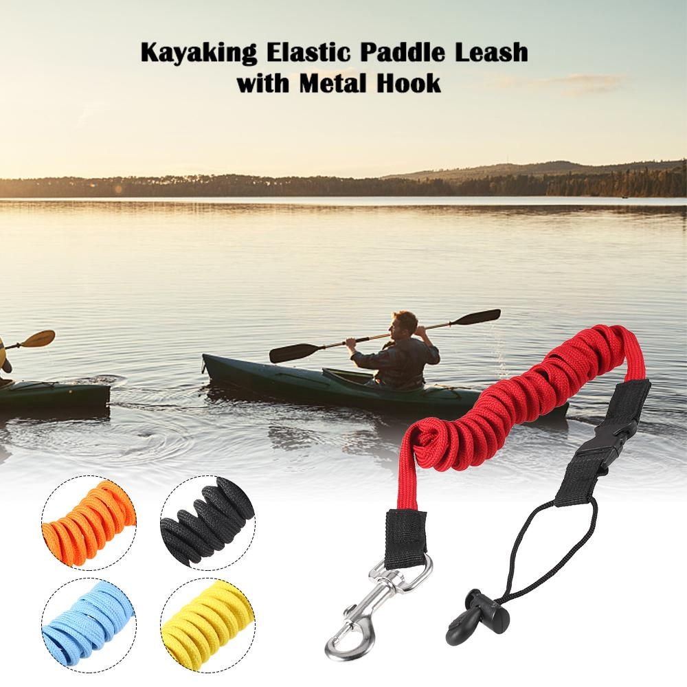 Kayak Canoe Paddle Rod Leash Safety Rope-Carabiner Rowing Boats Accessories
