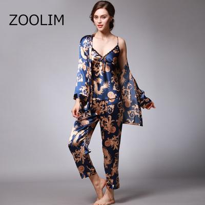 da4334034b746 ZOOLIM атласный цветок для женщин 3 частей Пижамы женские сексуальные  кружева шелковая пижама печати набора
