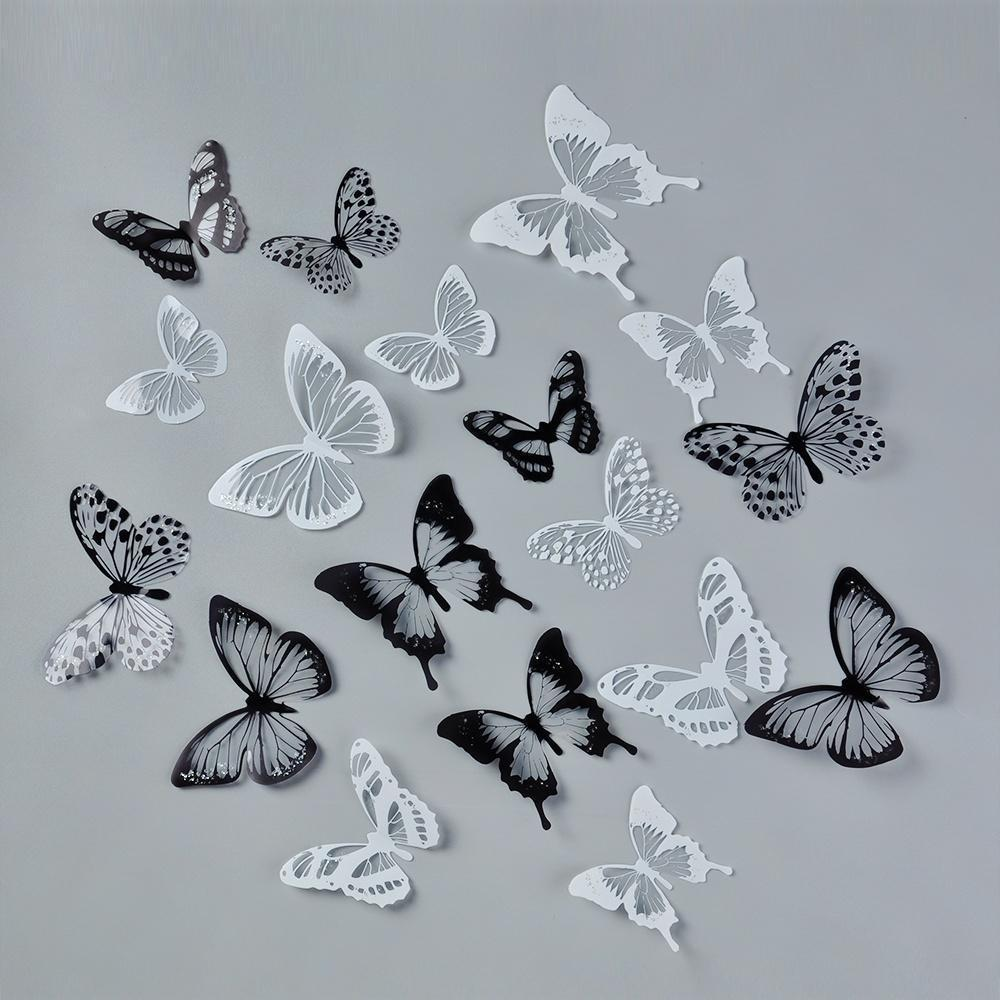 18Pcs 3D White Black Butterfly Sticker Art Wall Decal Home Decoration Room Decor