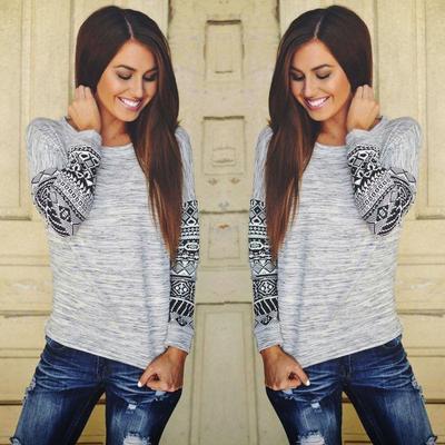 b7c83defdc02e Мода женские длинный рукав рубашки случайным кружева блузка Loose хлопка  вершины T рубашка
